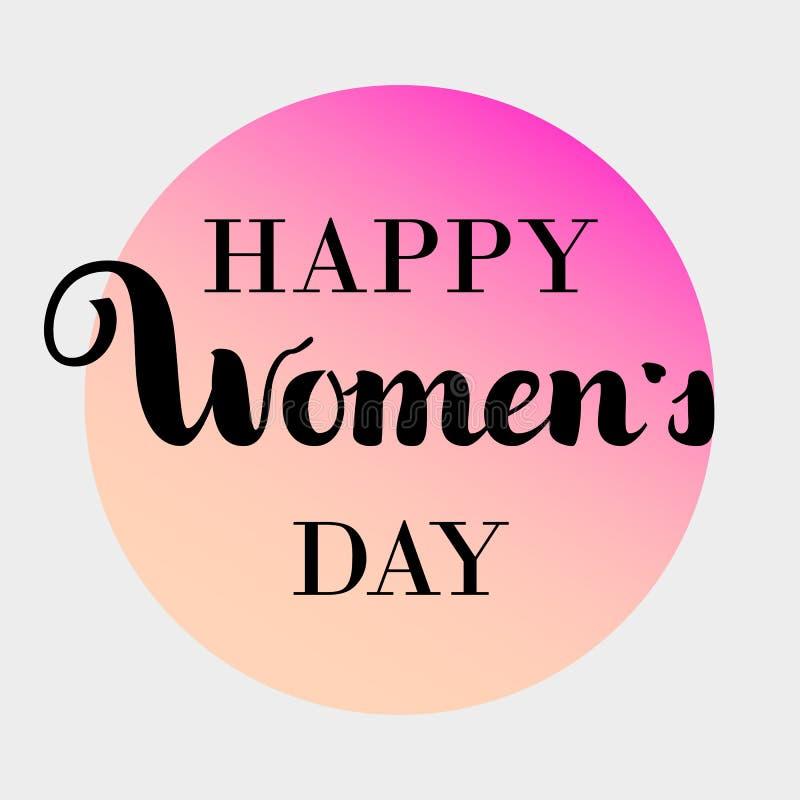 Texte du jour des femmes heureuses comme insigne de célébration, icône Invitation de carte des textes, calibre Fond de festivité  illustration de vecteur