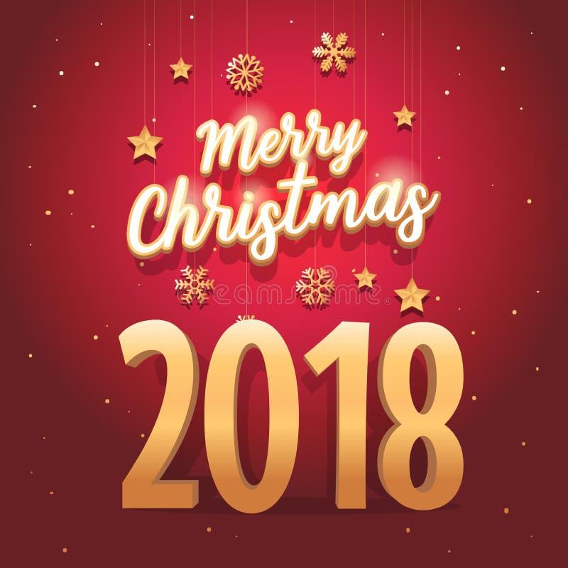 Texte du Joyeux Noël 2018 avec de l'or élégant et luxueux de style et de vintage illustration de vecteur