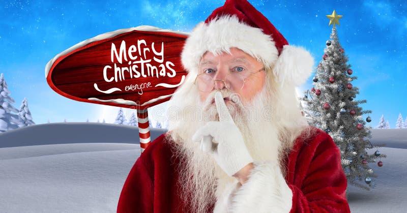 Texte et Santa de Joyeux Noël hushing le calme avec le poteau indicateur en bois dans le paysage d'hiver de Noël image libre de droits