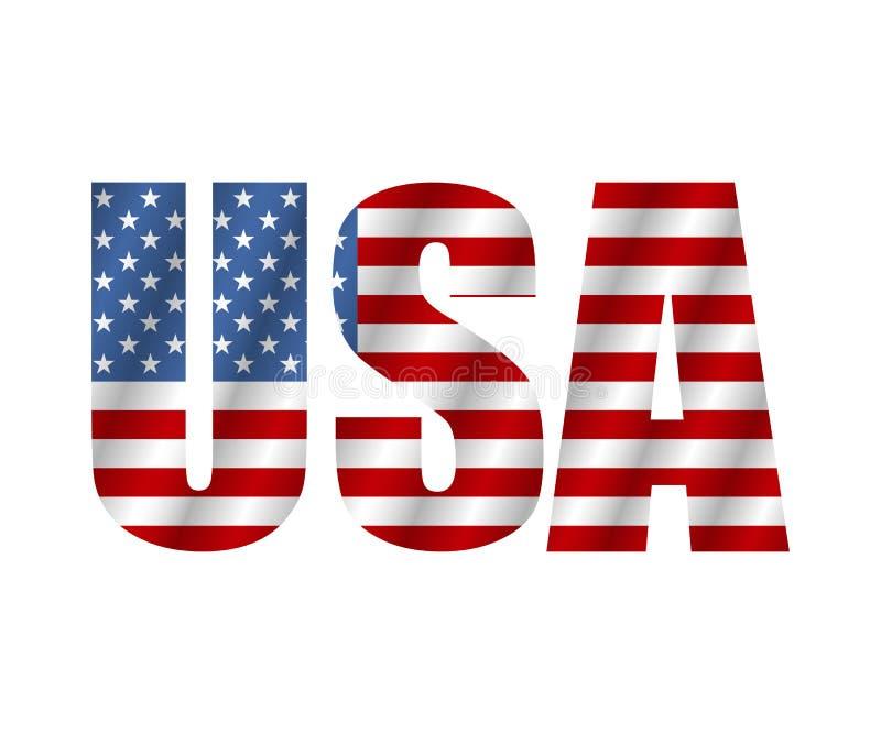 Texte Etats-Unis dans le drapeau de style Américain de drapeau d'isolement sur le fond blanc Vecteur illustration de vecteur