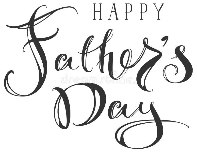 Texte fleuri de salutation heureux d'écriture de main de jour de pères illustration stock