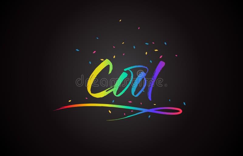 Texte frais de Word avec des couleurs vibrantes et des confettis d'arc-en-ciel manuscrit illustration de vecteur