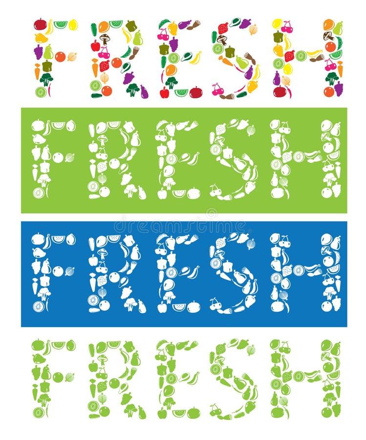 Texte frais utilisant des icônes de fruits et légumes de vecteur illustration libre de droits