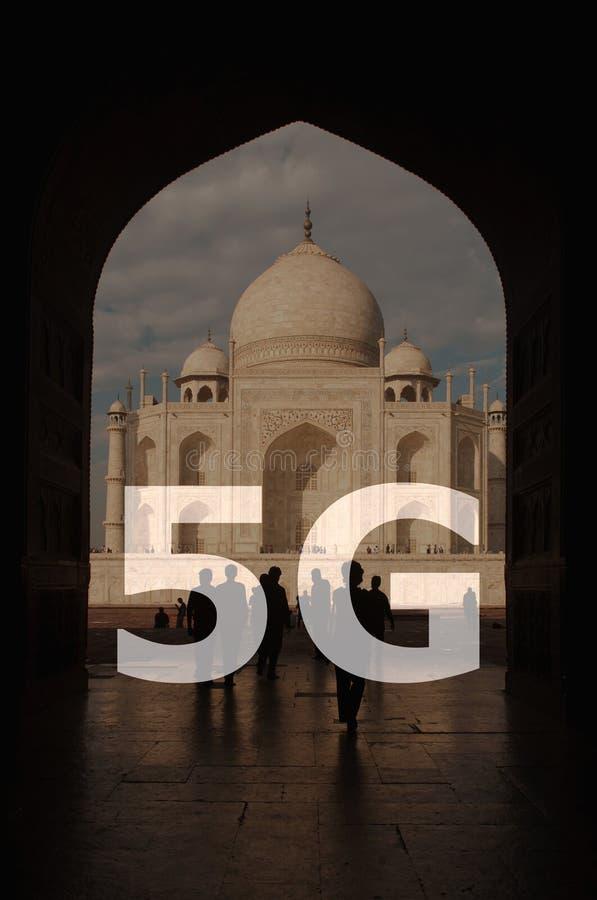 texte 5G sur Taj Mahal India photo libre de droits