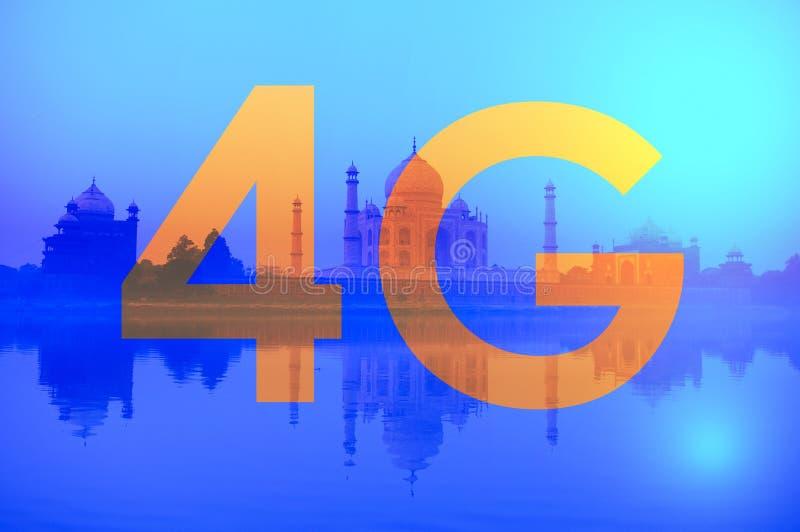 texte 4G sur Taj Mahal India image libre de droits