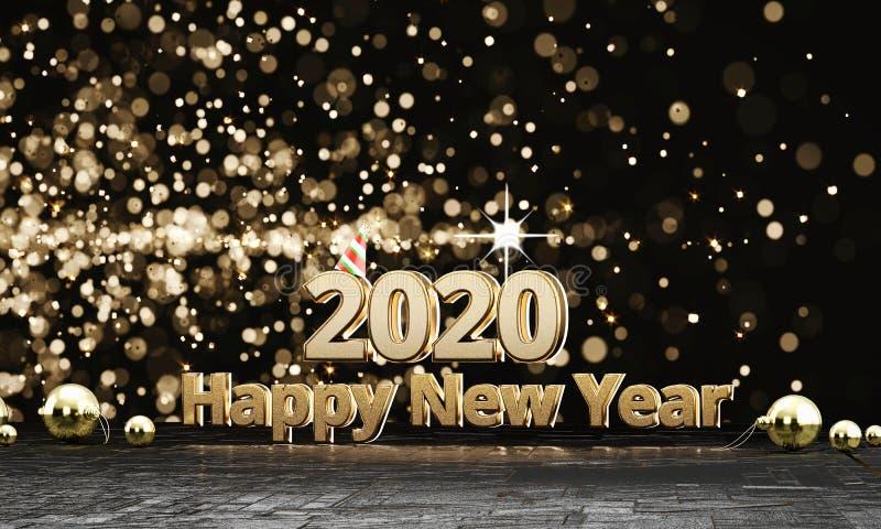 2020 Texte Gold glückliche neue Jahre vektor abbildung