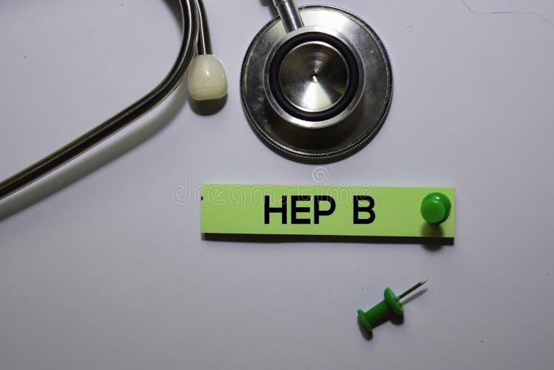 Texte HEP B sur les notes collantes isolées sur le bureau Concept images stock