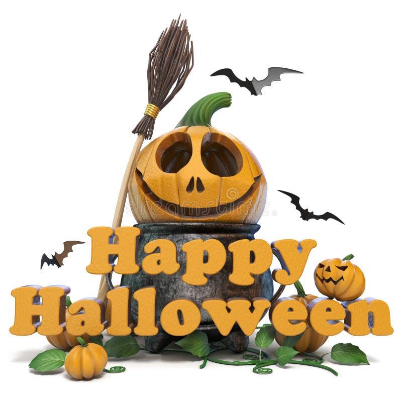Texte heureux 3D de Halloween illustration libre de droits