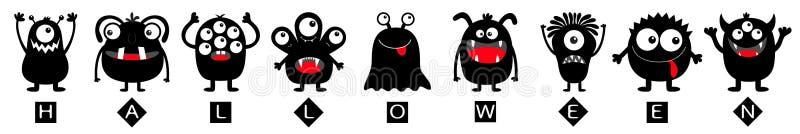 Texte heureux de Halloween Ligne ronde noire d'ensemble d'icône de silhouette de monstre Yeux, langue, croc de dent, mains  Kawai illustration de vecteur