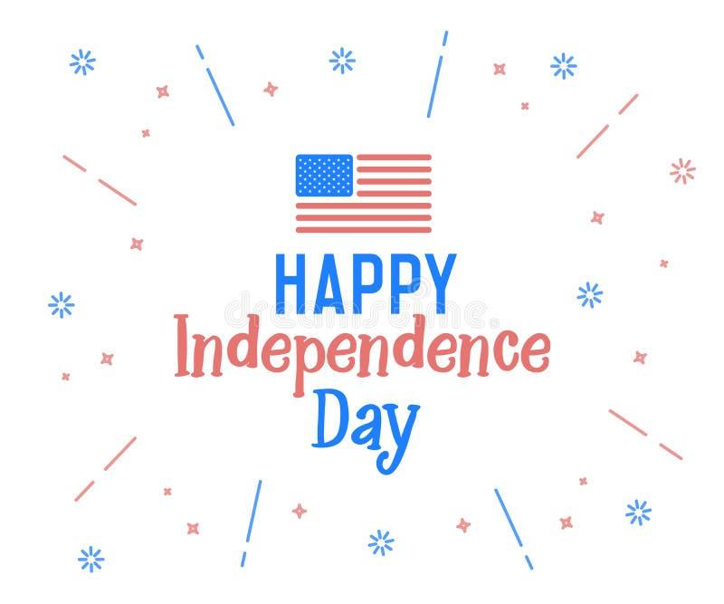 Texte heureux de Jour de la Déclaration d'Indépendance avec des couleurs de drapeau des Etats-Unis d'Amérique Rétro label de fond illustration de vecteur