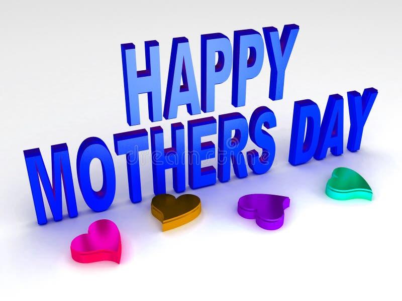 Texte heureux de jour de mères dans l'image d'actions du renderd 3d illustration stock