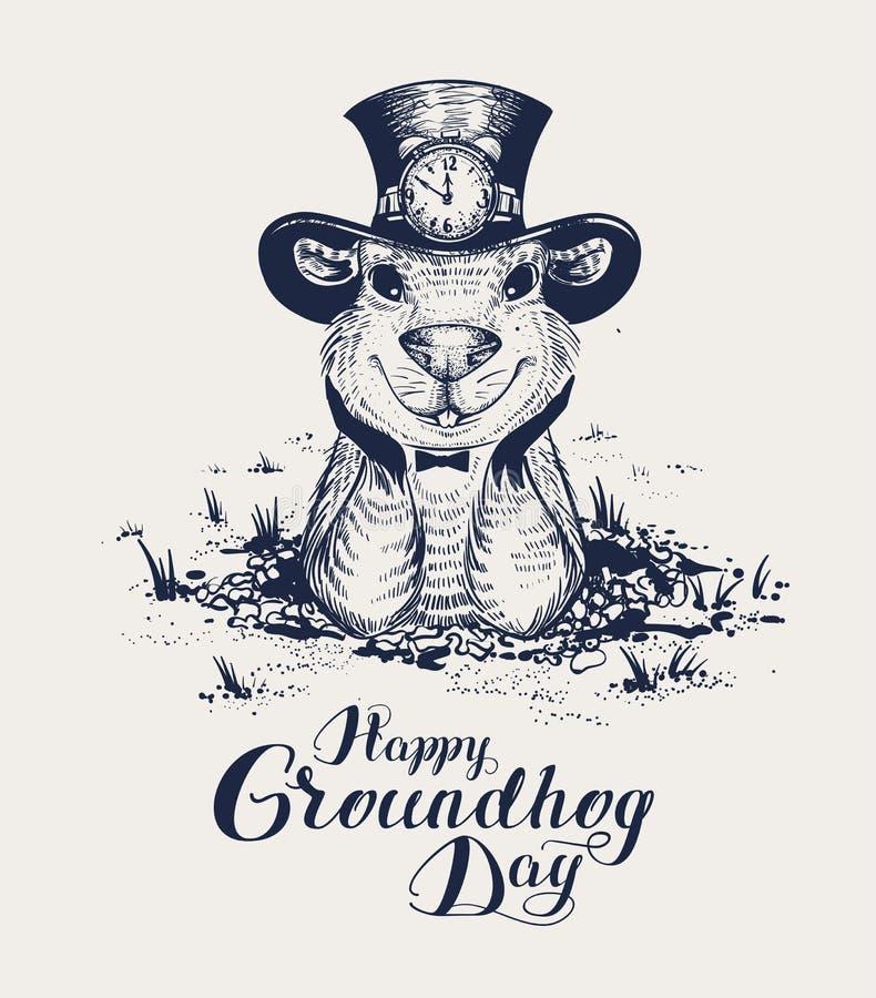 Texte heureux de lettrage de jour de Groundhog pour la carte de voeux La marmotte drôle dans le chapeau sort du trou et regarde e illustration libre de droits