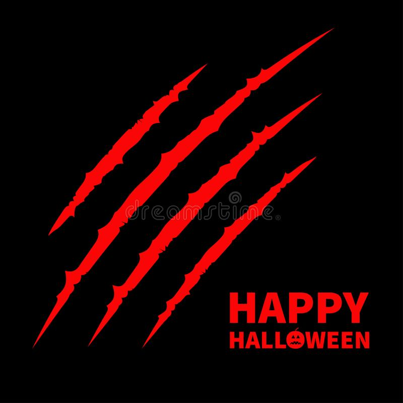 Texte heureux de potiron de Halloween Voie animale de coup de racloir d'éraflure de griffes ensanglantées rouges illustration stock
