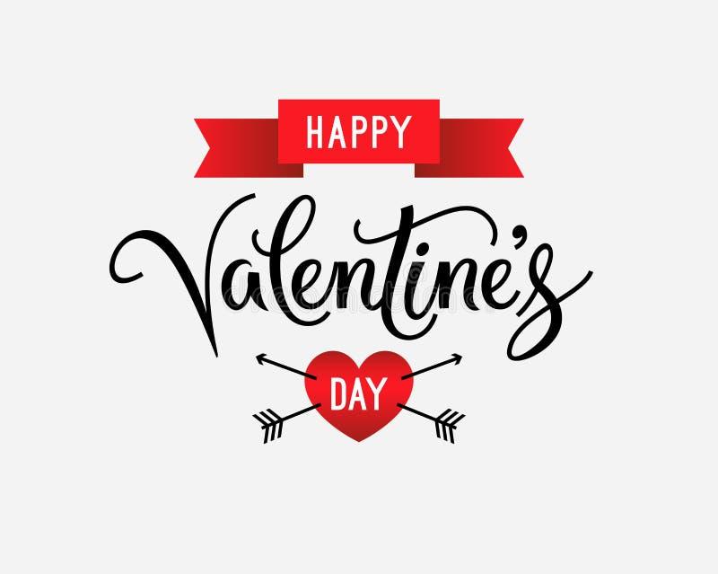 Texte heureux de salutation de jour de valentines et rétro label de style, carte Affiche de vintage et fond de vacances Illustrat illustration stock