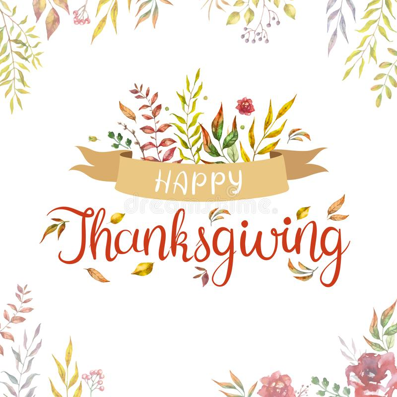 Texte heureux de thanksgiving avec des feuilles et des branches d'automne d'aquarelle d'isolement sur le fond blanc illustration de vecteur