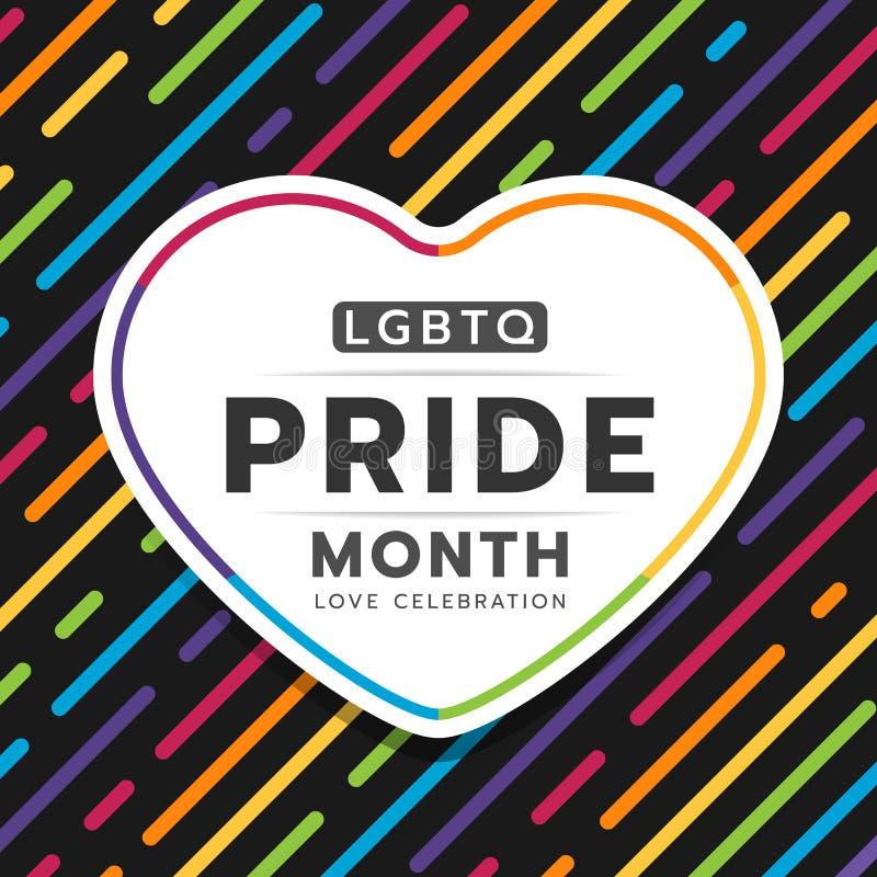 Texte heureux de typographie de mois de fierté de LGBTQ dans la bannière de coeur sur la ligne colorée abstraite texture de rayur illustration stock