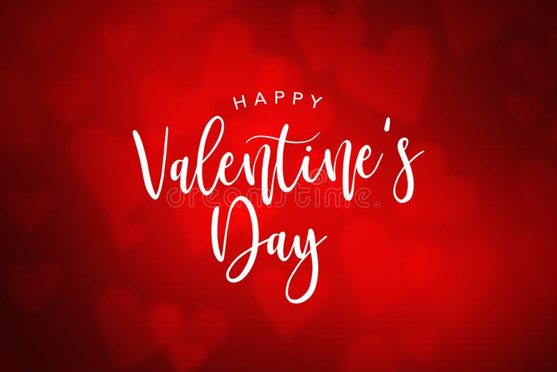 Texte heureux de vacances de Saint-Valentin au-dessus de fond rouge de coeur illustration stock