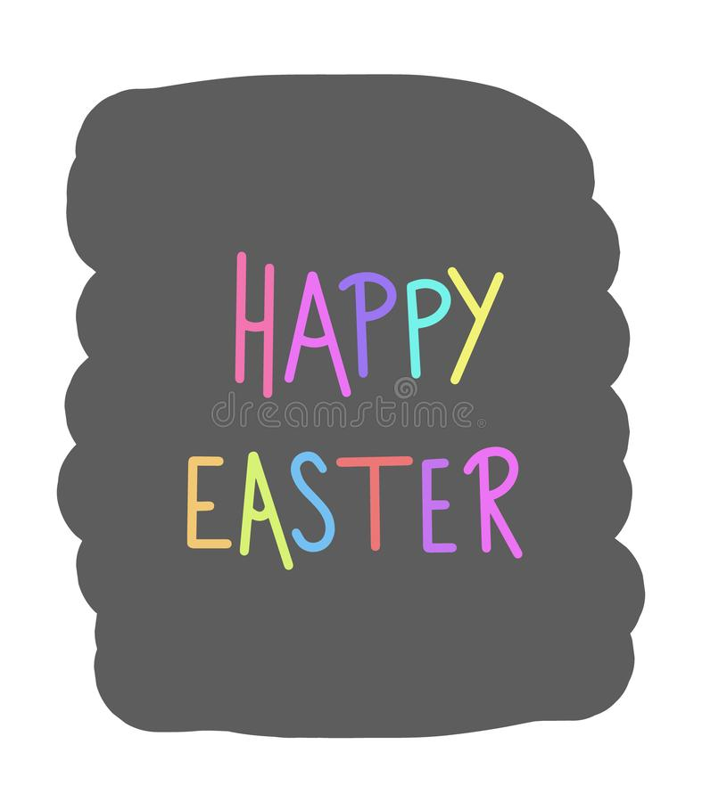 Texte heureux de vecteur de Pâques Signe coloré de vacances pour la mode d'enfants, de livres, d'enfants en bas âge et de bébés,  illustration libre de droits
