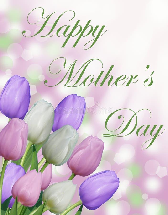 Texte heureux du jour de mère avec les tulipes pourpres et blanches roses et le fond abstrait de bokeh photographie stock