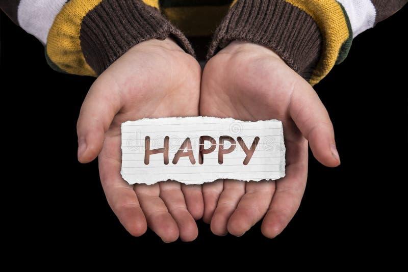 Texte heureux en main photographie stock
