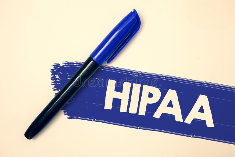 Texte Hipaa d'écriture de Word Concept d'affaires pour les messages fa d'idées de loi de soins de santé d'acte de portabilité et  photo libre de droits