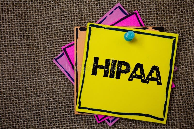 Texte Hipaa d'écriture de Word Le concept d'affaires pour des idées de papiers de loi de soins de santé d'acte de portabilité et  image stock