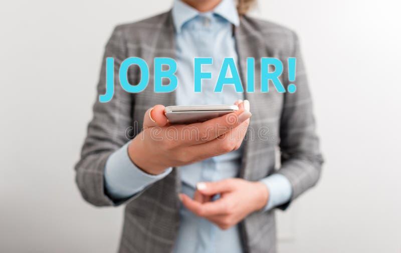 Texte Job Fair d'?criture de Word Concept d'affaires pour l'?v?nement dans quels recruteurs d'employeurs fournissent l'informatio images stock