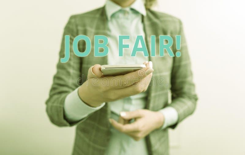 Texte Job Fair d'?criture de Word Concept d'affaires pour l'?v?nement dans quels recruteurs d'employeurs fournissent l'informatio photo stock