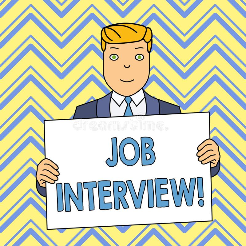 Texte Job Interview d'?criture de Word Concept d'affaires pour se r?unir dans lequel un employeur interroge le demandeur au sujet illustration libre de droits