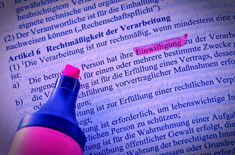 Texte juridique d'acte de base de protection des données en tant que loi publique d'UE avec l'accent sur le consentement de l'art image libre de droits