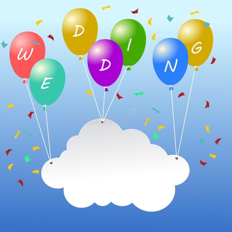 Texte l'épousant heureux sur les ballons colorés et tenir un espace vide sur le nuage illustration de vecteur