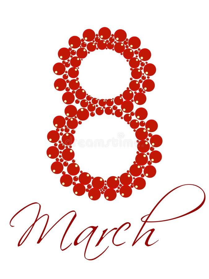 Texte le 8 mars pour le jour des femmes internationales. illustration de vecteur