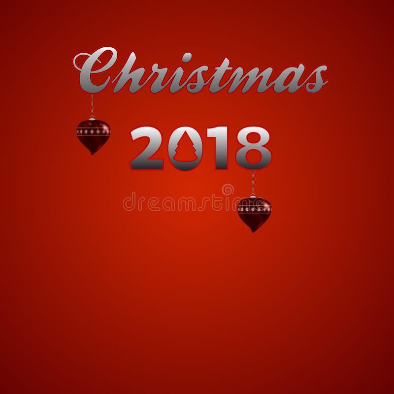 Texte métallique de Noël 2018 décoratifs de fête avec les bords rouges fluorescents et les babioles en forme de coeur de Noël au- illustration libre de droits