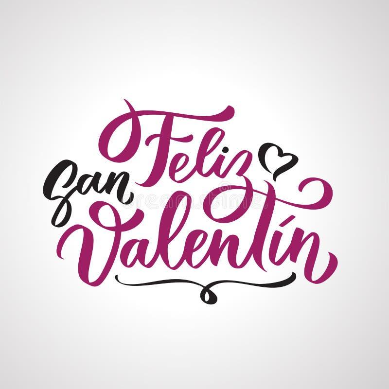 Texte manuscrit de Feliz San Valentin sur espagnol illustration stock