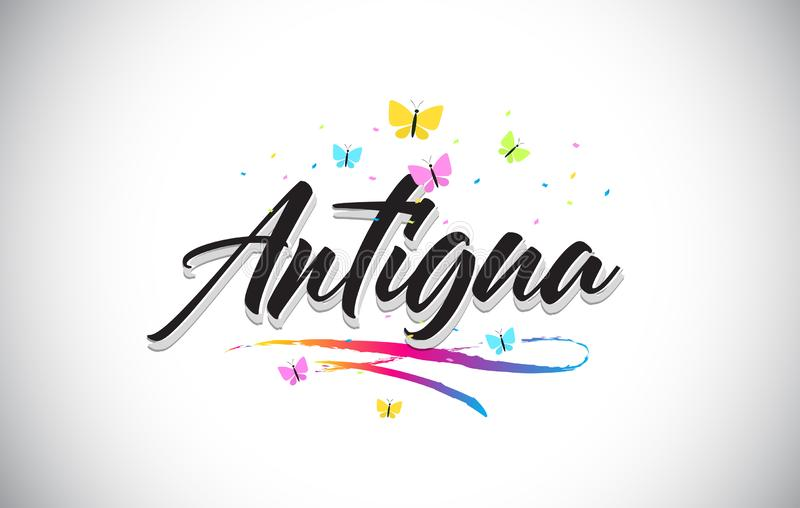 Texte manuscrit de Word de vecteur de l'Antigua avec des papillons et le bruissement coloré illustration stock