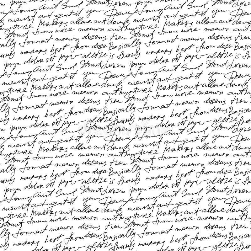 Texte manuscrit noir sur le fond blanc de répétition de vecteur Type décor sans couture de poésie illustration libre de droits