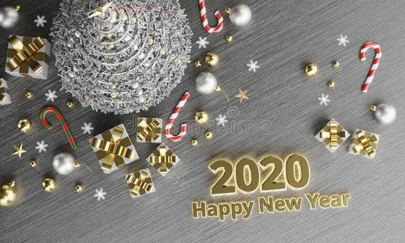 2020 Texte - Neues Jahr glücklicher Hintergrund vektor abbildung