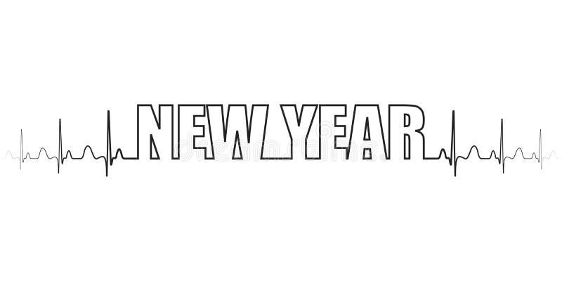 Texte nouvelle année ligne vectorielle battement de coeur, excitation attendant le miracle de la nouvelle année illustration stock
