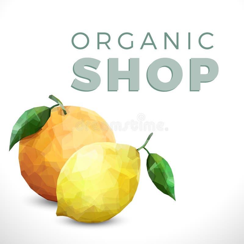 Texte organique de boutique sur le fond blanc avec l'agrume illustration libre de droits