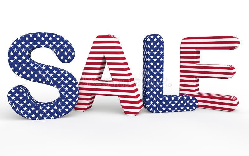 Texte orienté de la vente 3d des Etats-Unis illustration stock