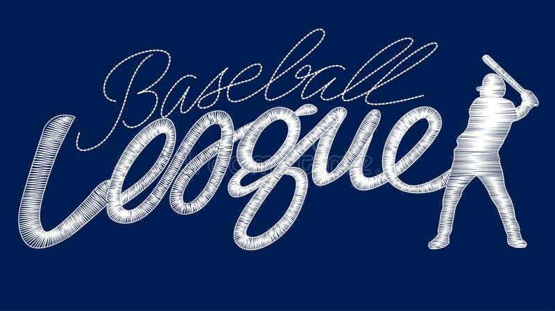 Texte piquant de base-ball de broderie blanche de ligue avec le joueur illustration stock