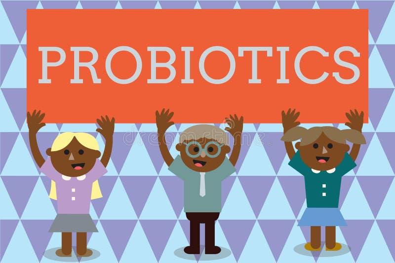 Texte Probiotics d'écriture Micro-organisme vivant de bactéries de signification de concept accueilli dans le corps pour ses avan illustration de vecteur