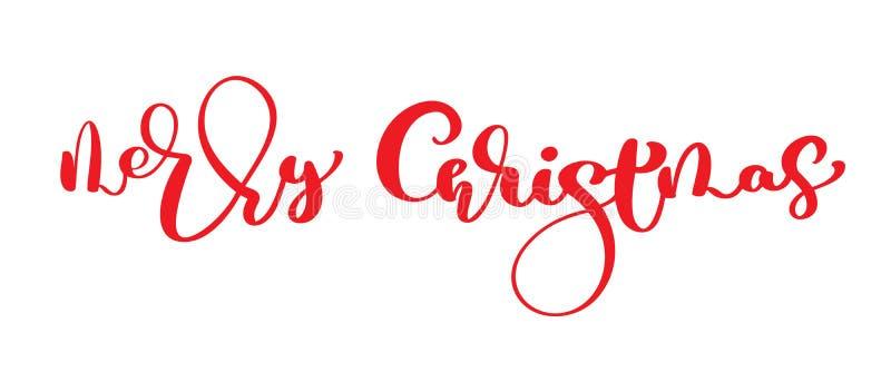 Texte rouge de vintage de vecteur de Joyeux Noël Calibre calligraphique de carte écrit par main de conception de lettrage Typogra illustration libre de droits