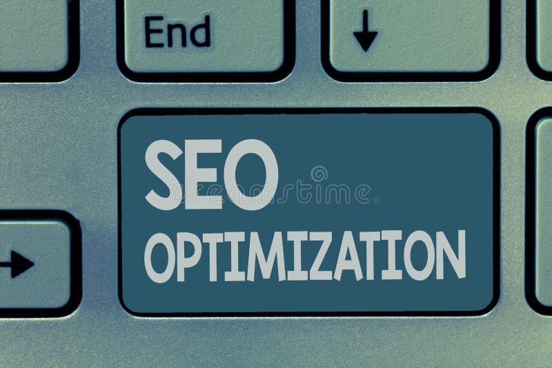 Texte Seo Optimization d'écriture de Word Concept d'affaires pour le processus d'affecter la visibilité en ligne du site Web ou d photographie stock libre de droits