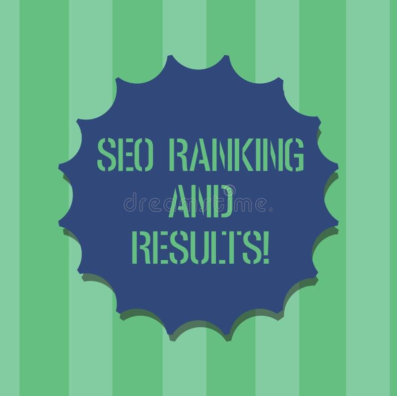 Texte Seo Ranking And Results d'écriture Joint vide d'analytics de statistiques d'optimisation de moteur de recherche de signific illustration de vecteur