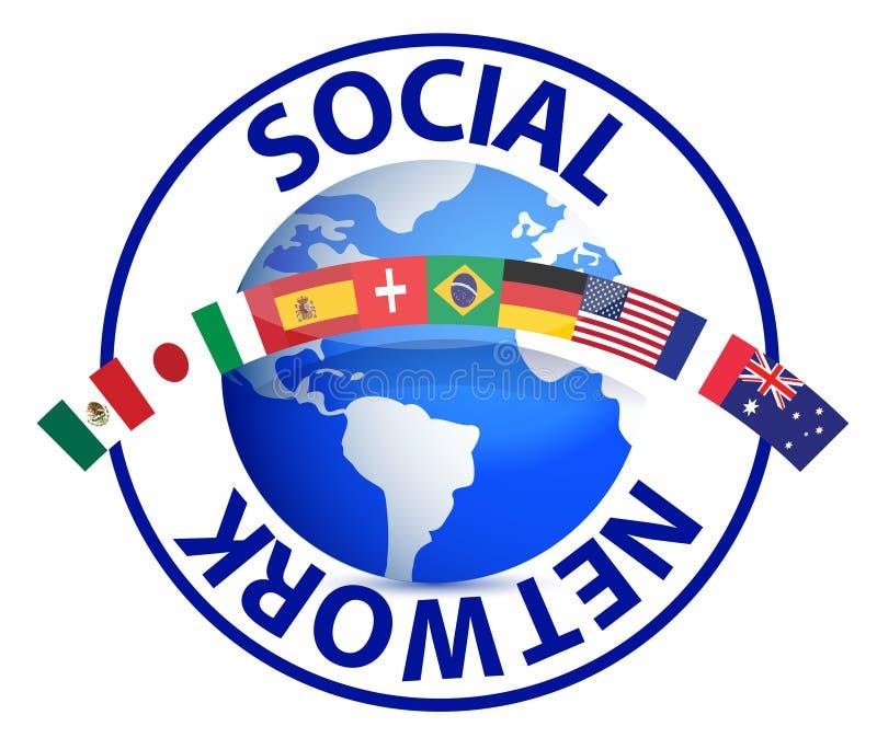Texte social de réseau autour de globe de la terre illustration stock