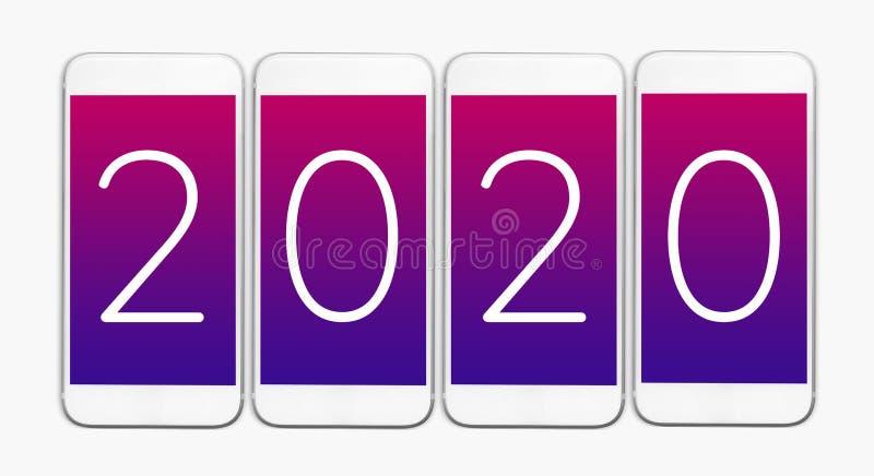 texte 2020 sur le smartphone Compte de nouvelle année vers le bas ou concepts de célébration image libre de droits