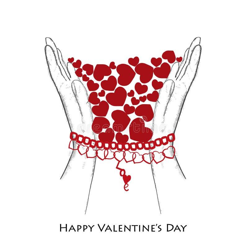 """Texte tiré par la main de """"amour """" Carte de voeux simple de Saint-Valentin de coeur rouge brillant illustration stock"""