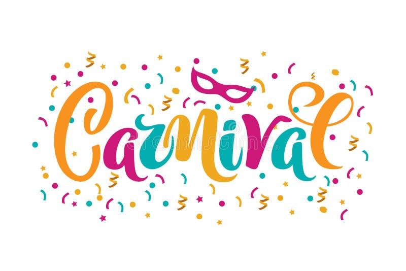 Texte tiré par la main de carnaval de vecteur pour l'invitation carnaval de partie, le Brésil ou l'événement vénitien, concept de illustration stock