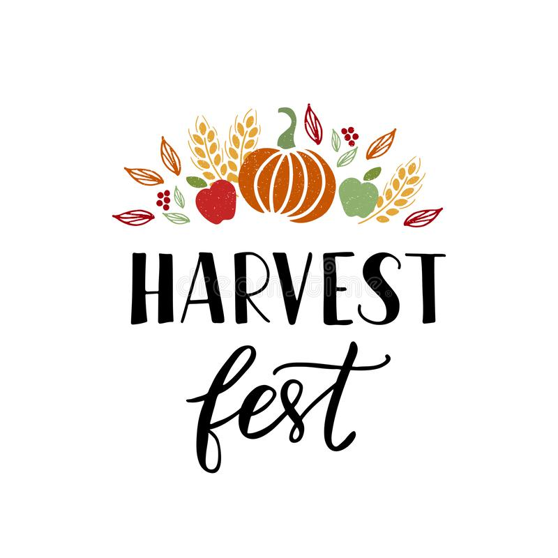 Texte tiré par la main de Fest de récolte avec des fruits et légumes illustration stock